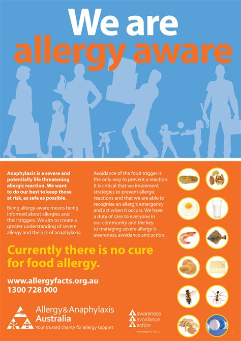 We Are Allergy Aware Poster Allergy Anaphylaxis