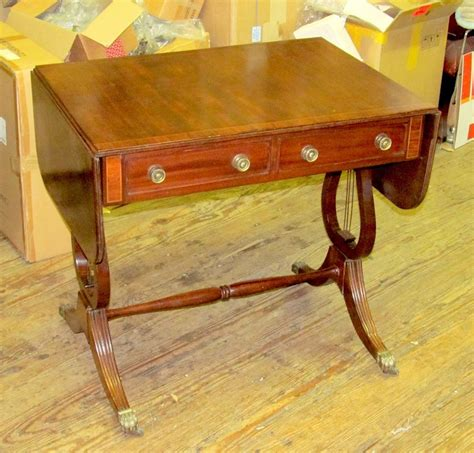 drop leaf sofa table antique english george iv inlaid mahogany regency drop