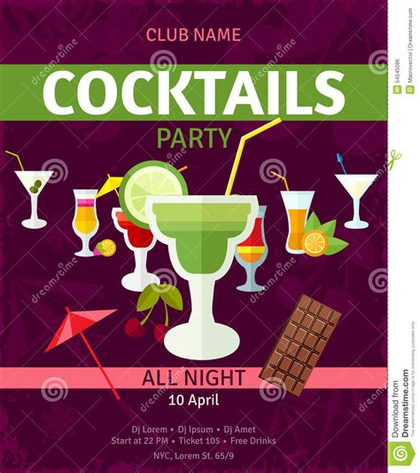 Tropical Cocktails Night Party Invitation Poster Stock