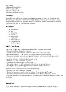 Cloud Computing Experience Resume by Professional Cloud Computing Engineer Templates To Showcase Your Talent Myperfectresume