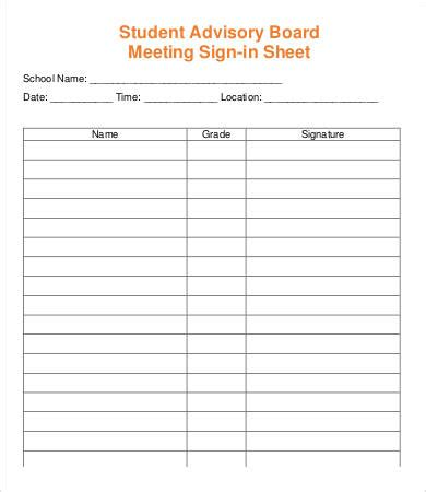 meeting sign  sheet template    documents
