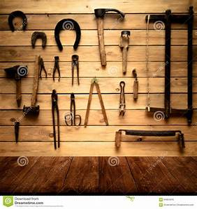 Light Wooden Wall With Different Vintage Carpentry Tools