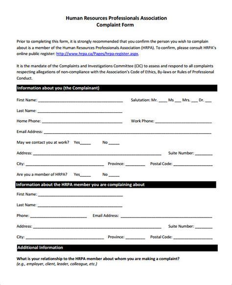 complaint template 23 hr complaint forms free sle exle format free premium templates