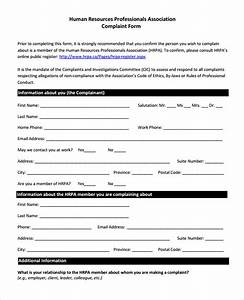 sample hr form sample employee complaint form on company With free human resources forms and templates