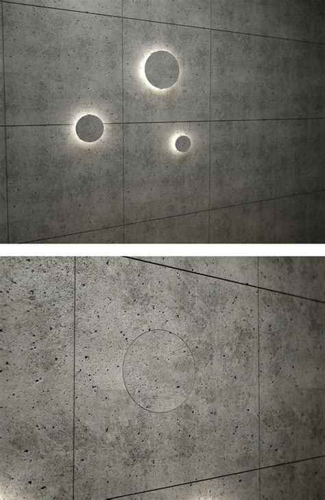 night light built into concrete wall made with recycled