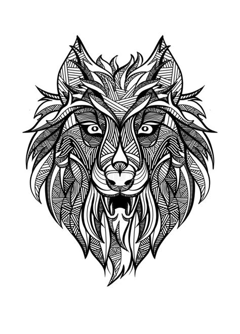Zentangle Black Contour Wolf Head Stock Vector - Illustration of drawn, furious: 85345433