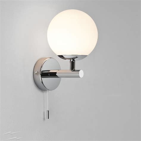polished chrome ip44 bathroom wall light with pull cord