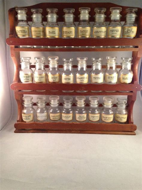 Spice Rack And Bottles by Vintage Large Spice Rack With 24 Spice Jars By