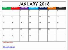 2018 Blank Calendar Monthly Templates Free Download