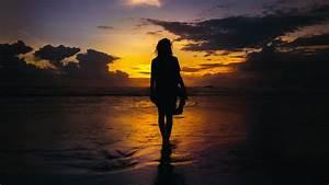 Beach, Girl, Silhouette, 5k, Wallpapers