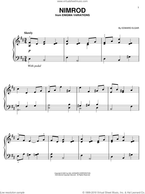Free printable sheet music for easy piano. Elgar - Nimrod, (easy) sheet music for piano solo PDF