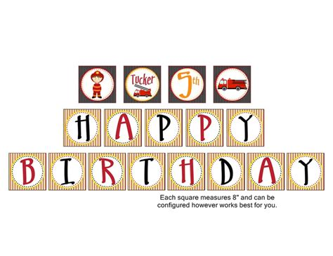 fire truck fire kids birthday banner personalized happy