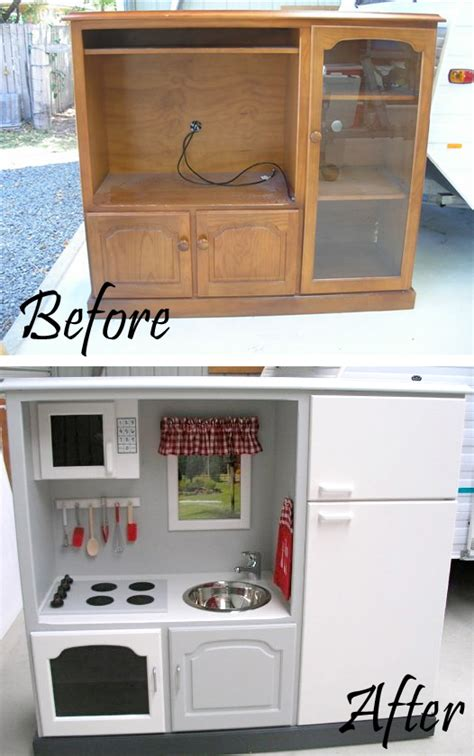 convert tv cabinet to play kitchen 20 creative diy furniture hacks that will make you think 9457