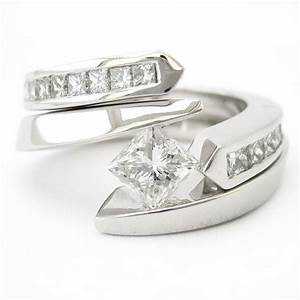 princess cut tension set solitaire diamond engagement ring With tension set engagement ring with wedding band