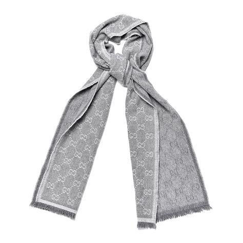 gucci wool angora monogram fringe scarf gray