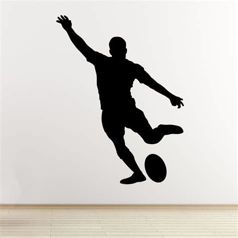 childrens wall decals rugby player wall sticker kicking player outline