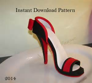 high heel cake topper pdf instant fondant high heel pattern template high