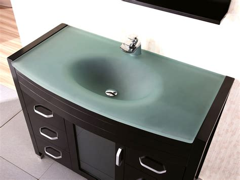 "48"" Waterfall Single Bath Vanity  Glass Top Bathgemscom"