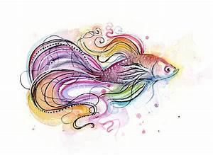 watercolor fish paintings | Betta Fish Watercolor Painting ...