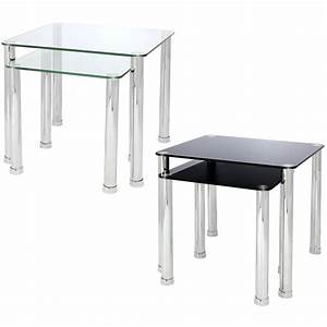 nest of 2 glass chrome tables home lounge living room set With glass and chrome coffee table sets