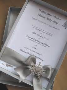 themed wedding invitations winter themed luxury boxed wedding invitation large diamante snowflake design