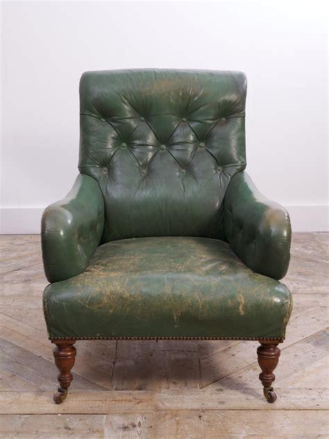Green Leather Armchair by Green Leather Armchair Drew Pritchard Ltd