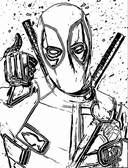 Coloring Deadpool Pages Wolverine Clip Adults Domino