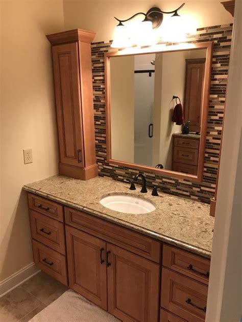 bath homecrest cabinets montello maple ginger stain