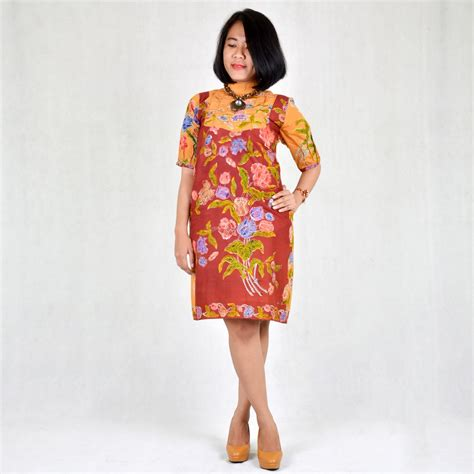 dress batik encim wanita coklat