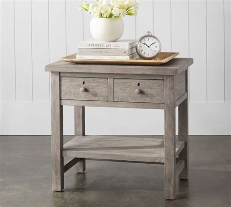 farmhouse 2 drawer bedside table pottery barn