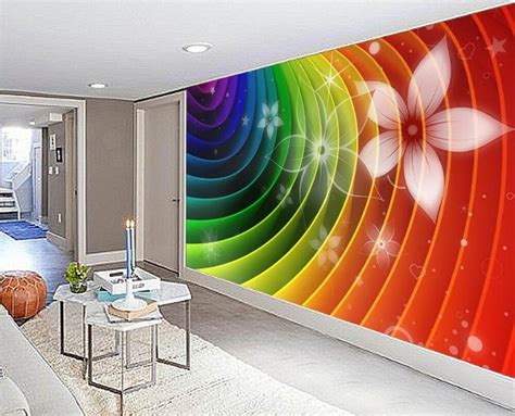 abstract rainbow colorful flowers    wall tv