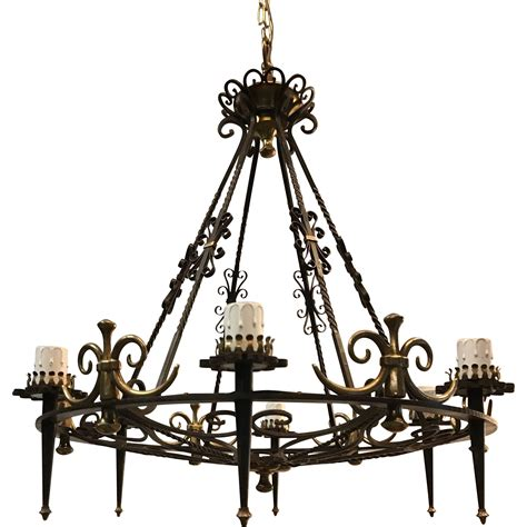 large matching pair wrought iron chandelier bronze 6 light