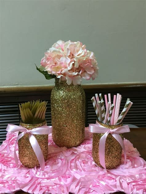 girl pink gold glitter pearls baby