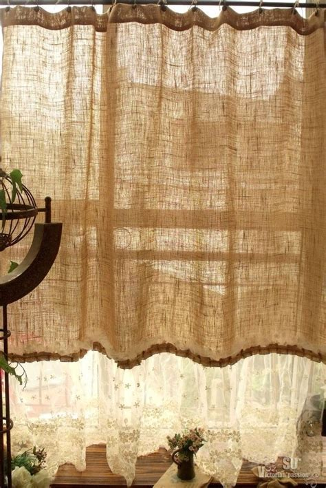 "72"" SHABBY Rustic Chic Burlap SHOWER Curtain Lace Ruffles"