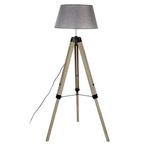 wooden tripod floor l with grey shade harper grey wood tripod floor l grey shade astral