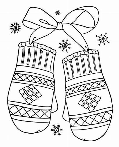 Coloring Winter Mittens Drawing Lovely Gift Season