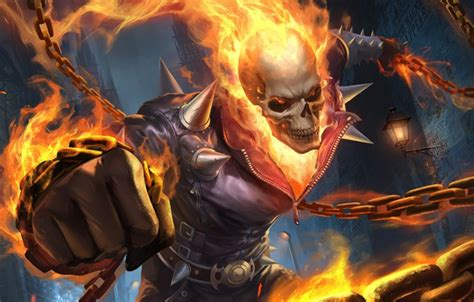 wallpaper skull fire chain background ghost rider