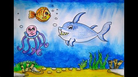Draw A Scenery Of Ocean Bottom- Under The Sea By Indrajit