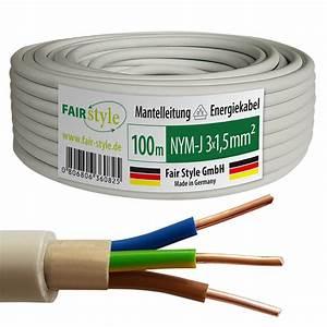 3x1 5 Nym : 100m nym j 3x1 5 mm mantelleitung elektro strom kabel ofc made in germany ebay ~ Frokenaadalensverden.com Haus und Dekorationen
