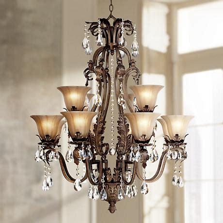 wide chandelier iron leaf 34 quot wide bronze and 12 light chandelier