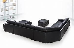 Black leather modern u shape sectional sofa w ottoman for U shaped sectional sofa with ottoman