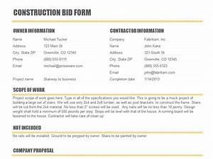 construction bid form templates construction With tender specification template