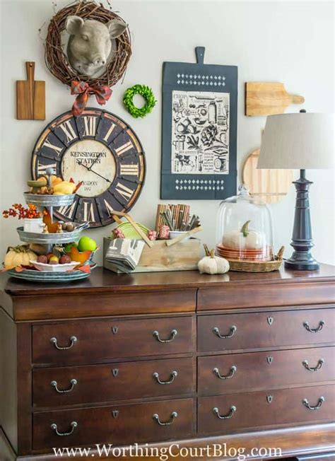 Check out our buffet table decor selection for the very best in unique or custom, handmade pieces from our buffets & china cabinets shops. Fall Decor On My Kitchen Sideboard {And Some Changes To My Gallery Wall}   Worthing Court