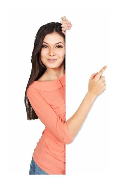 Pointing Woman Behind Abbonizio Oroscopo Services Produk