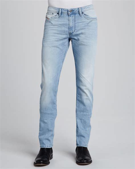 light blue jeans mens slim fit lyst diesel shoiner super light wash slimfit skinny