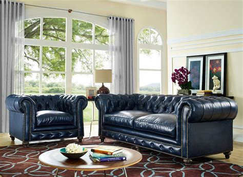 Living Room Furniture Blue by Durango Rustic Blue Leather Living Room Set From Tov S38