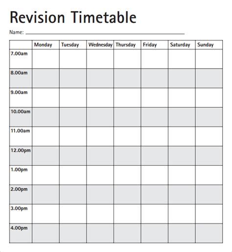Template Revision Timetable Image Collections Template Revision Timetable Template Excel Calendar Monthly Printable