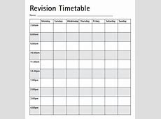 Revision Timetable Template Excel calendar monthly printable
