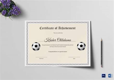 sample football certificate templates