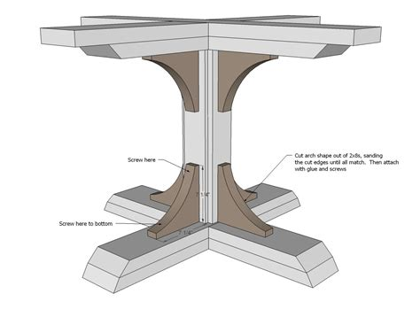 square pedestal table  wood table diy table